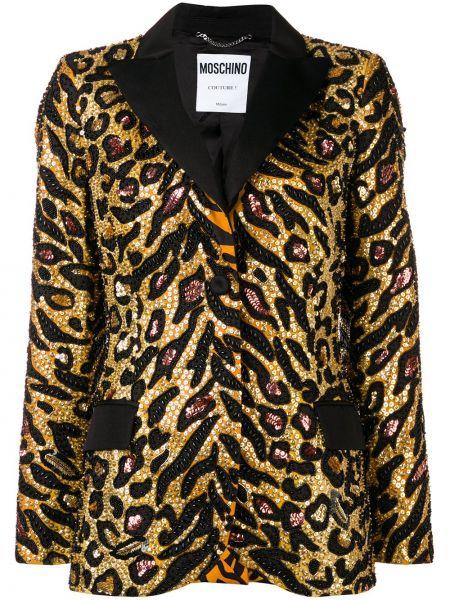 Шелковый желтый пиджак с карманами Moschino