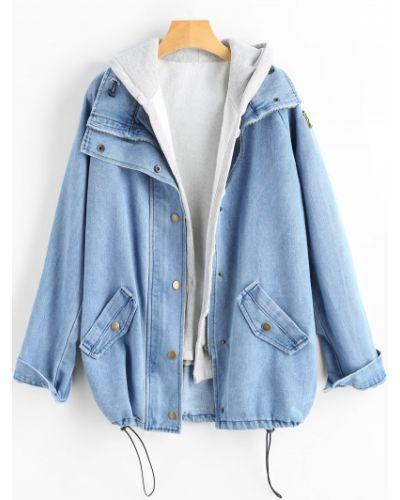 Куртка с капюшоном джинсовая на пуговицах Zaful