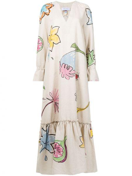 Хлопковое платье макси - коричневое Mira Mikati