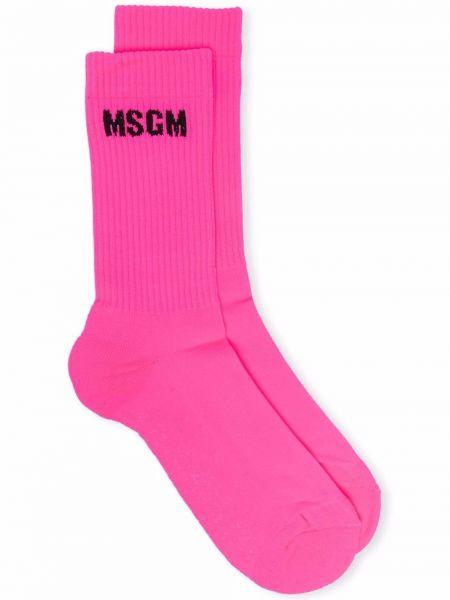 Розовые носки в рубчик Msgm