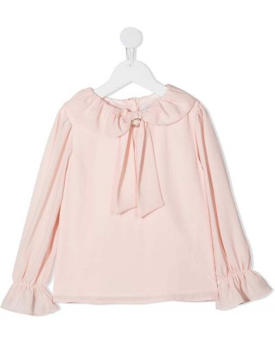 С рукавами шифоновая розовая блуза на пуговицах Patachou