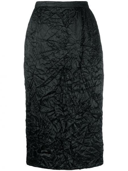 Черная юбка миди с поясом в рубчик Rochas