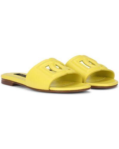 Желтые открытые кожаные сандалии Dolce & Gabbana Kids
