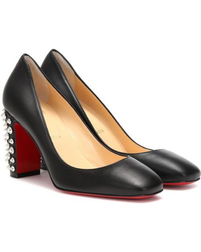 Кожаные туфли черные лодочки Christian Louboutin