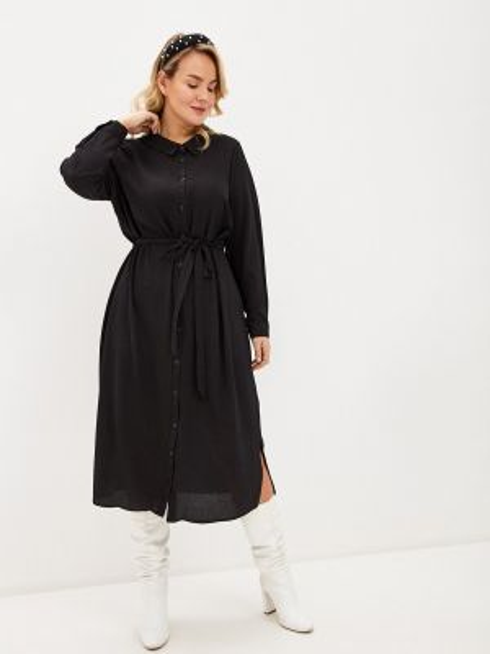 Платье платье-рубашка черное Evans