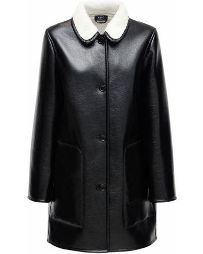 Кожаное пальто с карманами из натуральной кожи A.p.c.