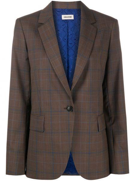 Однобортный коричневый удлиненный пиджак в клетку Zadig&voltaire