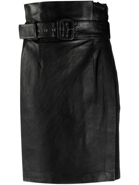Хлопковая черная с завышенной талией юбка с декоративной отделкой Ba&sh
