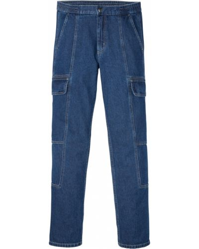Синие прямые джинсы с поясом Bonprix