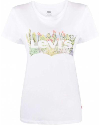 Хлопковая белая прямая футболка с круглым вырезом Levi's®