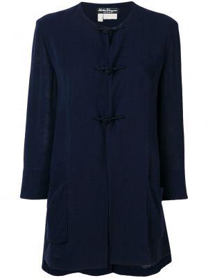 Синее шерстяное расклешенное пальто с воротником Salvatore Ferragamo Pre-owned