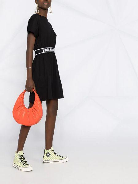Хлопковое черное платье с вырезом Karl Lagerfeld