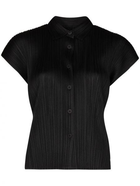 Czarna koszula krótki rękaw Pleats Please Issey Miyake
