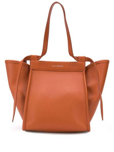 Коричневая мешковатая сумка-тоут металлическая Elena Ghisellini