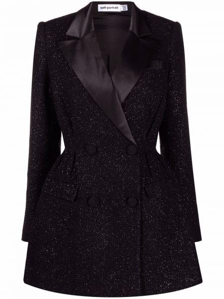 Платье макси с длинными рукавами - черное Self-portrait