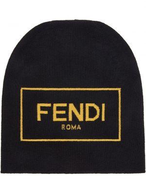 Wełniany trykotowy czarny czapka zimowa Fendi