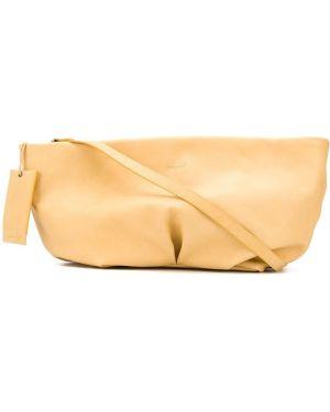 Желтая кожаная сумка на плечо на молнии Marsèll