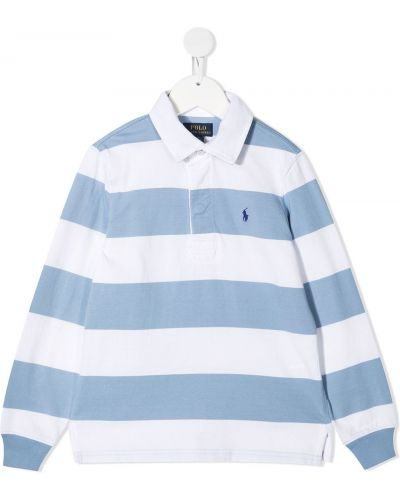 Белая рубашка в полоску с воротником Ralph Lauren Kids