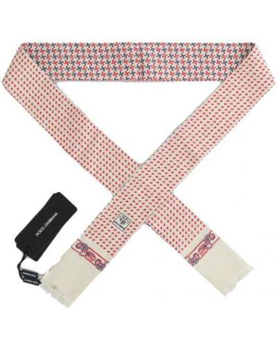 Biały szalik z jedwabiu z frędzlami Dolce And Gabbana