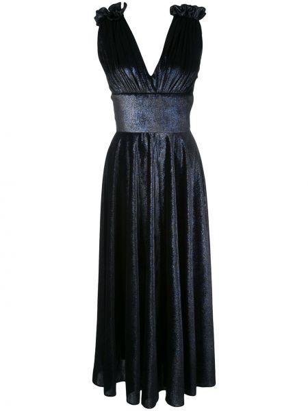 Синее приталенное платье миди с V-образным вырезом без рукавов Christian Siriano