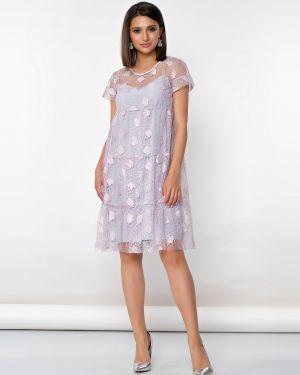 Свободное шифоновое вечернее платье свободного кроя с короткими рукавами Jetty