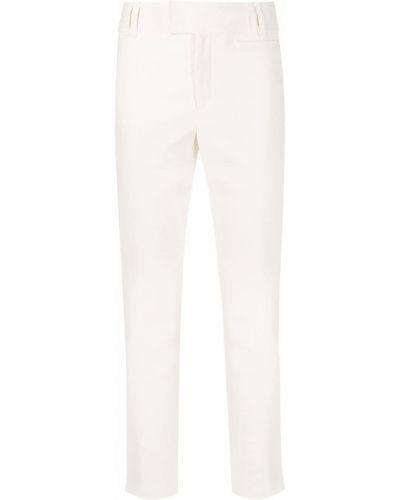 Хлопковые белые укороченные брюки узкого кроя Isabel Marant