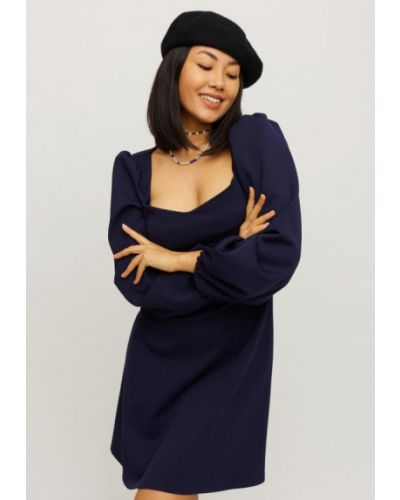 Прямое синее платье А-силуэта Karree