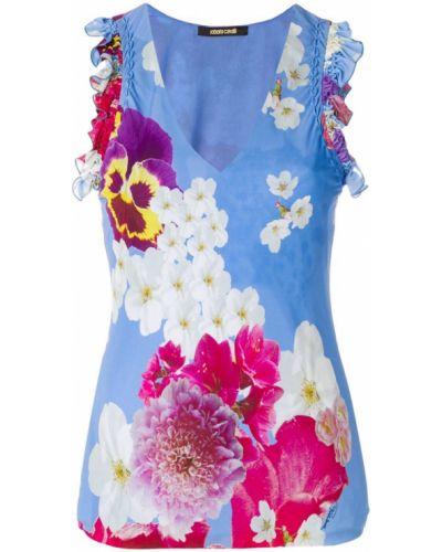 Синий топ с цветочным принтом Roberto Cavalli