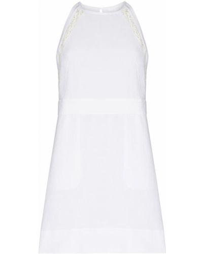 Белое платье мини без рукавов с вырезом круглое Chloé