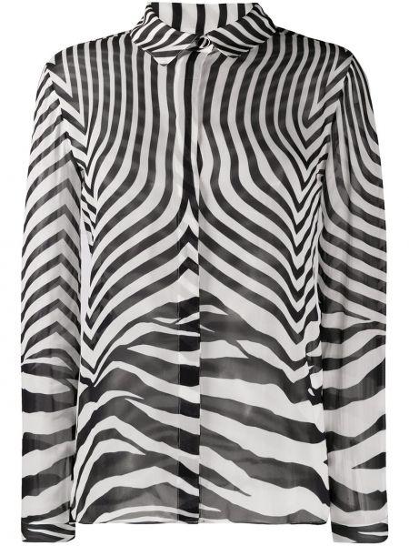 Черная длинная рубашка с воротником из вискозы Just Cavalli