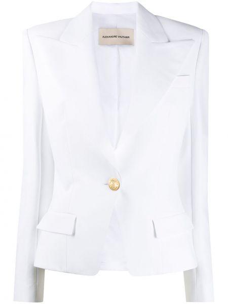 Однобортный белый пиджак с карманами Alexandre Vauthier