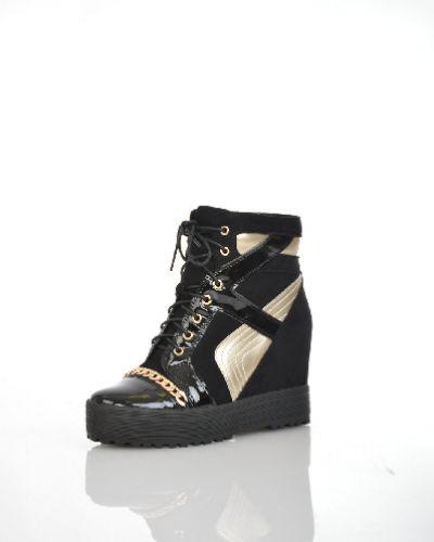 Кожаные черные кроссовки на платформе Makfly
