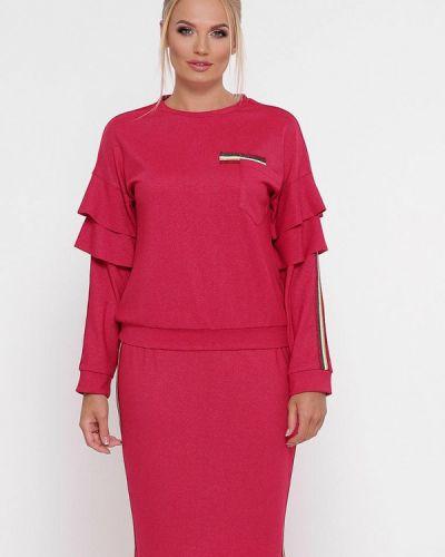 Розовый вязаный юбочный костюм Vlavi