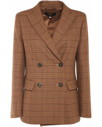 Шерстяная коричневая куртка двубортная Weekend Max Mara