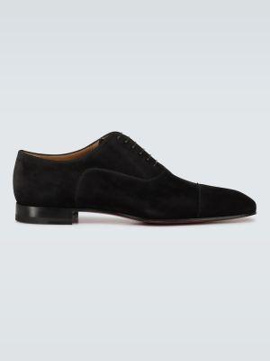 Лаковые черные замшевые туфли Christian Louboutin