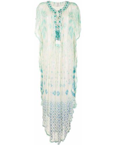 Белое платье трапеция с вырезом Hemant And Nandita