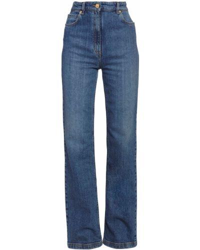 Кожаные пляжные джинсы с высокой посадкой с карманами с заплатками Versace
