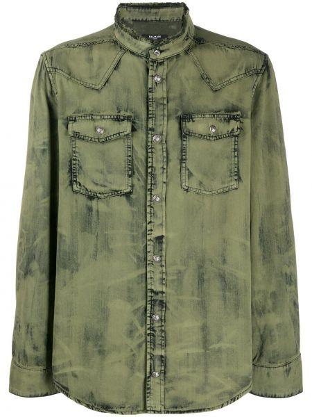 Koszula z długim rękawem dżinsowa wojskowy Balmain