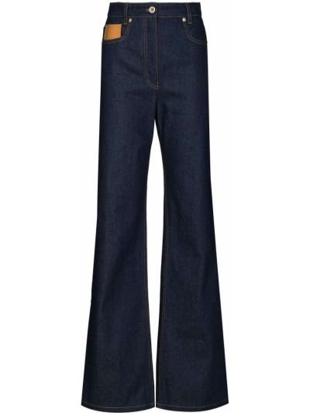 Расклешенные синие с завышенной талией джинсы Paco Rabanne