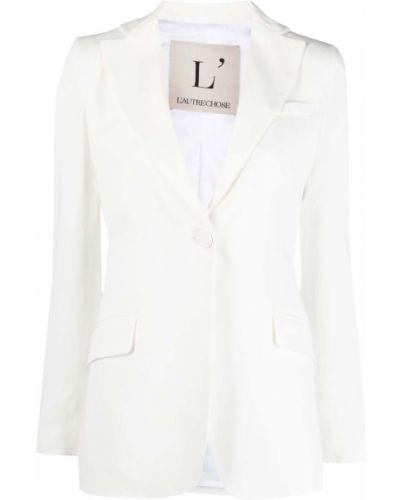 Однобортный белый удлиненный пиджак с карманами L'autre Chose