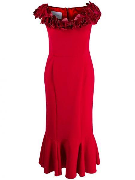 Платье миди с цветочным принтом на молнии Marchesa