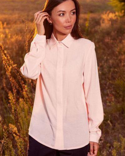 Деловая розовая прямая блузка из штапеля Vovk
