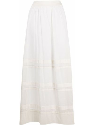 Расклешенная белая юбка макси с вышивкой Peserico