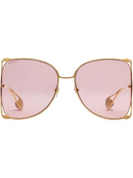 Złote różowe okulary oversize Gucci Eyewear