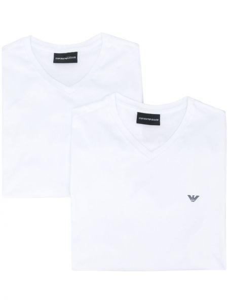 Koszula krótkie z krótkim rękawem z logo z dekoltem w szpic Emporio Armani