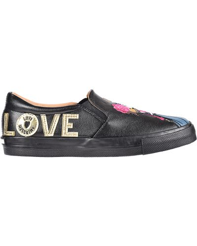 Слипоны на платформе черные Love Moschino