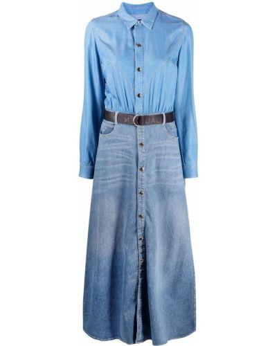 Синее платье макси с длинными рукавами с воротником Jacob Cohen