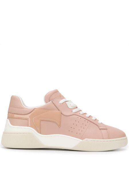 Кожаные кроссовки розовый с перфорацией Tods
