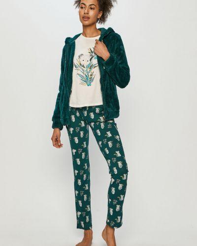 Spodni piżama bawełniana z długimi rękawami turkusowa Etam