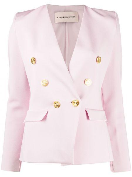 Розовый пиджак двубортный на пуговицах Alexandre Vauthier